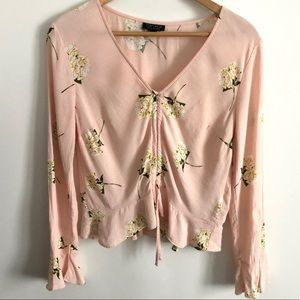 Topshop Floral Ruched Blouse